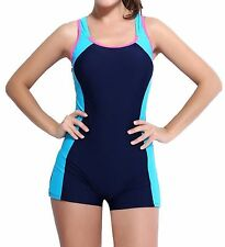 Womens One Piece Swimsuit Boyleg Swimwear Sports Boy short Swimming Costume B...