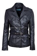 New Ladies 5460 Black Slim Fit Soft Leather Jacket Casual Military Collar Rock