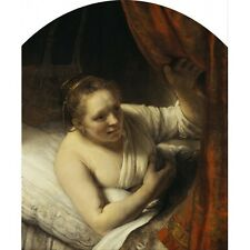 1645 Rembrandt A Woman In Bed Female Potrait Dutch Baroque Painting Art Poster