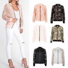Womens Long Sleeve Zip Front Floral Lace Casual Ladies Bomber Jacket