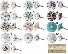 Shabby chic cupboard door knobs handles drawer pulls. Vintage ceramic knobs.