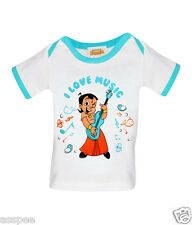 Luke and Lilly Chhota Bheem Printed Round Neck Cotton TShirt for Baby Boy & Girl