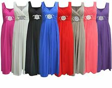 WOMENS LONG BRIDESMAID PARTY COCKTAIL EVENING PROM BUCKLE MAXI DRESS PLUS SIZE
