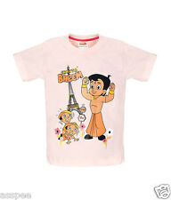 Chhota Bheem with Dholu Bholu Printed Round Neck Cotton Pink T-Shirt for Kids