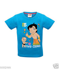 Chhota Bheem with Raju Printed Round Neck Cotton Blue T-Shirt for Baby Boy