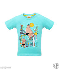 Chhota Bheem Kalia & Raju Printed Round Neck Cotton Turquoise T-Shirt for Kids