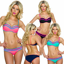donna bikini set Mini mutandine fascia top spalline S 34 36 push-up spiaggia