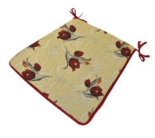 Floral Seat Pad Cushions Tie On Kitchen Garden Dining Patio Chair Pads Cream Red