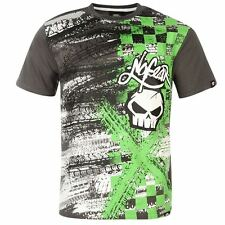 MENS GREY NO FEAR TIRE TRACKS MOTO X CROSS SHORT SLEEVE TEE SHIRT T-SHIRT TOP