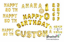 Happy Birthday Personalised Age Custom 16 inch gold foil balloons banner Mylar
