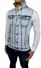 SMANICATO DI JEANS UOMO DIAMOND GIUBBOTTO GILET CASUAL SLIM FIT SUPER ADERENTE