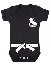 """Baby Play Suit """"Baby Judo with White Belt"""" Judo Baby, Strong Baby - Baby Grow"""