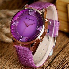 Women Dress Wrist Watch Rhinestone Butterfly Crystal Dial Analog Quartz For Girl