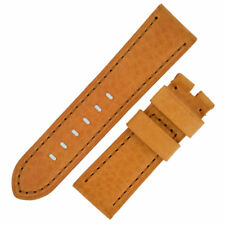 Panerai Style Vintage Leather Watch Strap in GOLD BROWN