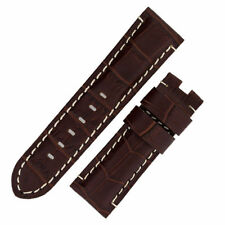 Panerai Style Alligator Deployment Leather Watch Strap in TABAC