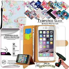 Leather Wallet Case + Tempered Glass Screen Protector For Apple iPhone 5G 5S