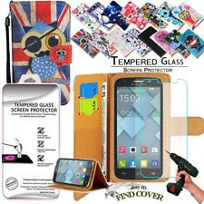 Leather Wallet Case + Genuine Tempered Glass Screen Protector For Alcatel C7