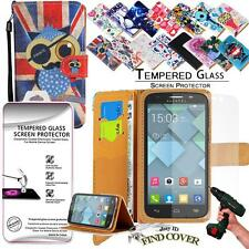 Leather Wallet Case + Genuine Tempered Glass Screen Protector For Alcatel C5