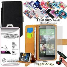 Leather Wallet Case +Genuine Tempered Glass Screen Protector For HTC ONE M8