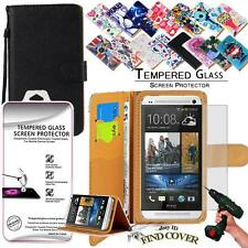 Leather Wallet Case +Genuine Tempered Glass Screen Protector For HTC ONE M7