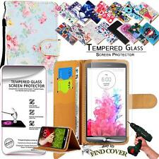 Leather Wallet Case + Genuine Tempered Glass Screen Protector For LG G3