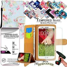 Leather Wallet Case +Genuine Tempered Glass Screen Protector For LG G2 mini D620