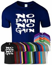 No Pain No Gain Mens T-Shirt Training Motivation GYM Workout Bodybuilding Tee
