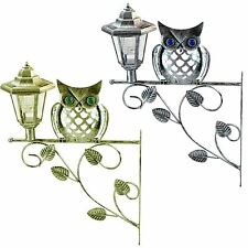 Traditional Owl Lantern Wall Bracket Solar Powered Light Hanging Garden Outdoor