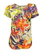 Next Orange Multicoloured Abstract Print Short Sleeved Top Zip fastening