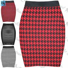 Womens Ladies Dogtooth Faux Leather Stretchy Bodycon Short Mini Skirt Plus Size