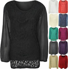New Ladies Lace Lined Sheer Long Sleeve Chiffon Womens Tunic Party Top Plus Size