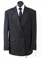 NEW MENS STYLISH DOUBLE BREASTED BLACK SUIT JACKET AND TROUSERS