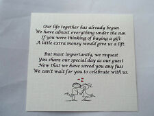 50 Small Wedding Gift Poem Cards asking for Money Cash Choice of 5