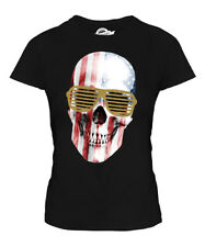 STARS AND STRIPES SKULL PRINTED LADIES T-SHIRT GLITTER GLASSES TOP FASHION SWAG