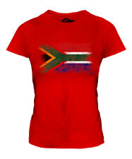 SOUTH AFRICA DISTRESSED FLAG LADIES T-SHIRT SUID-AFRIKA FOOTBALL AFRICAN SHIRT