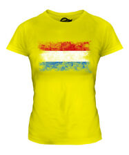 LUXEMBOURG DISTRESSED FLAG LADIES T-SHIRT TOP LETZEBUERG LUXEMBOURGISH LUXEMBURG