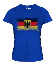 GERMANY STATE DISTRESSED FLAG LADIES T-SHIRT DEUTSCHLAND FOOTBALL GERMAN SHIRT