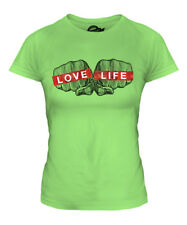 LOVE LIFE KNUCKLES PRINTED LADIES FASHION T-SHIRT SLOGAN TOP HIPSTER SWAG TRENDY