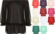 New Ladies Plain Chiffon Gypsy Boho Sheer 3/4 Sleeve Off Shoulder Plus Size Top