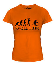 DOWNHILL SKIING EVOLUTION OF MAN LADIES T-SHIRT TEE TOP GIFT SKIS