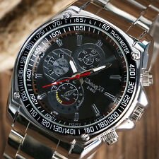 Casual Men Analog Black/White Dial Quartz Stainless Steel Business Wrist Watch
