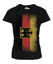 GERMANY STATE FADED FLAG LADIES T-SHIRT TOP DEUTSCHLAND FOOTBALL GERMAN SHIRT