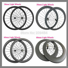 Carbon Wheels 700C 23mm Width24-88mm Clincher Tubular Racing Bicycle Wheelset to
