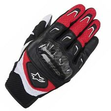 Alpinestars SMX 2 SMX-2 Air Carbon Leather Motorcycle Motorbike Gloves Red Black