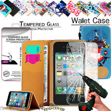 Leather Wallet Case +Genuine Tempered Glass Screen Protector For Apple iPhone