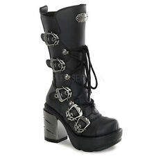 DEMONIA By Pleaser - Sinister-203 Multi Buckle Calf Boots Chrome Heel Industrial