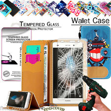 Leather Wallet Case + Genuine Tempered Glass Screen Protector For Huawei phone