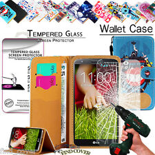 Leather Wallet Case +Genuine Tempered Glass Screen Protector For LG mobile phone