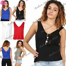 Womens Ladies Casual Muscle Vest V Neck Front V Back Tank T Shirt Top Plus Size