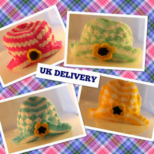NEW LADIES HAND CROCHETED BEANIE HAT WITH A CENTER FLOWER CHRISTMAS GIFT